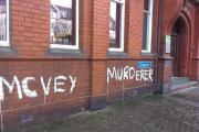 UPDATED: Councillors appalled as 'McVey Murderer' graffiti is scrawled across town hall